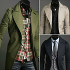 New Men's Double Breasted Strap Trench Casual Coat Long Slim Fit Jacket Overcoat