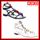 WOMENS LADIES MISS SIXTY FLAT LEATHER SUMMER GLADIATOR DIAMANTE SANDLES SIZE 3-8