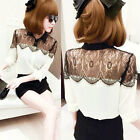 Womens Vintage Lace Long Sleeve Button Chiffon Splicing OL T-shirt Blouse Tops
