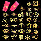 New 100pcs Golden Nail Art Tips Glitters Stickers Slices Plate DIY Decorations