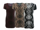 NEW WOMENS LADIES AZTEC CAP SLEEVE KNITTED JUMPER DRESS TUNIC