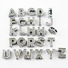 New 26Pcs12mm Letters Alloy Crystal Rhinestone Slide Beads Fit Jewelry DIY