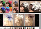 FASCINATORS LARGE LOOPED NET FEATHER HAIR CLIP / PIN CORSAGE VARIOUS COLOURS