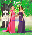 Hot Pink Chiffon Evening Ball Gown Prom Bridesmaid Dress One shoulder Flower