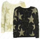 FLUFFY KNITTED STAR JUPMER New Womens Eyelash Knit Jumper SOFT Size S M L 12 14