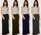 WOMENS LADIES LONG STRETCH JERSEY MAXI SKIRTS FULL LENGTH VINTAGE GYPSY RETRO