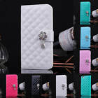 Luxury Leather Bling Diamonds Wallet Flip Stand Case Cover For iPhone 4 4G 4S