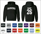 Badgers Custom Personalized Name & Number Adult Jersey Hooded Sweatshirt
