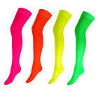 NEW WOMENS OVER THE KNEE THIGH HIGH NEON PLAIN SOCKS SIZE 4 - 61/2