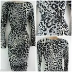 NEW BHS RETRO ANIMAL PRINT DRESS BODYCON WORKWEAR BLACK GREY 10 12 14 16 18 20