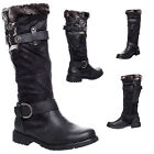 WOMENS LADIES BLACK FLAT FUR SHEARLING BUCKLE ZIP UP KNEE HIGH CALF BOOTS SIZE