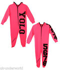 girls childrens onesie zipped hooded oversized jumpsuit all in one yolo/numbers