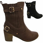 New Ladies Chelsea Gusset Booties Zip Womens Ankle Heel Boots Shoes Uk size 3-8