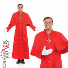 Mens Red Cardinal Pope Catholic Religious Deluxe Fancy Dress Costume Holy Man