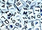 100 pcs 6mm white cube alphabet beads, mixed or single letter  A - Z