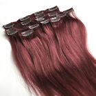 "14""-30"" Full head set Clip In remy Human Hair Extensions Burgundy 99j 70-120g"