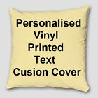 "Personalised Custom Vinyl Text Printed Cotton Cushion Covers 16"" X 16"""