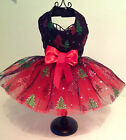 Xmas Dog Dress Black Net With Red and Green Xmas Trees on, Red Net Petticoat