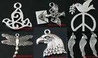 5Style Silver Dove Eagle Head Parrot Animal Charms Pendant Fit Jewelry DIY Craft