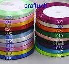 "25y 1/4""  1/2"" (6mm 12mm) Plain Satin Ribbon H042  20 colors U PICK"