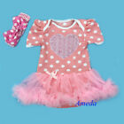 Baby Girls Rose Heart Light Pink Polka Dots Romper Bodysuit Pettiskirt NB-18M