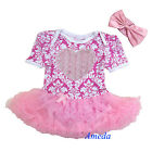 Baby Girls 3D Rosettes Heart Light Pink Damask Romper Bodysuit Pettiskirt NB-18M