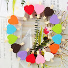 12Pcs Mini Wooden Heart Peg Love Clothes Photo Paper Pin Clothespin Craft Clips