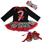 Xmas Baby Red Leopard Stick Long Sleeves Rompers Bodysuit Tutu Crib Shoes Bow