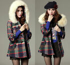 Women Ladies Warm Wool Blend Sweet Checks Horn Button Long Jacket Coat Outwears