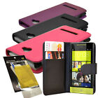 For HTC Windows 8S Phone New Leather Wallet Case Cover + LCD Screen Protector