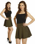 Mini SKIRT Solid Olive Stylish High Waisted Waist Pleated SKATER A-Line Flared