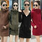 Womens Korean Solid Zip Hooded Medium Long Hoodie Sweatshirt Sport Coat Outwear