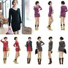 Womens V Neck Sexy Long Sleeve Bodycon Casual Cocktail Party Shirt Mini Dress