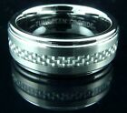 Mens Tungsten Carbide Ring Brushed Silver Carbon Fibre Band Wedding Engagement