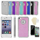 For Apple iPhone 4S/4 5S/5 Aluminum Bling Hard Cover Case w/ Screen Protector
