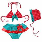 3PCs Baby Girls Polka Dots Bikini Sets Swimsuit Swimwear Swimming Costume SZ 2-6