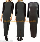 New Womens SChool casual long sleeves CONTRAST COLOUR split LONG MAXI Dress GRay