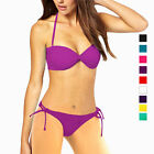 Ruched Halter Strapless Bandeau Top Bottom Bikini Swimwear Swimsuit S M L sw2042