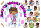 EDIBLE ICING DOC MCSTUFFINS GIRLS HAPPY BIRTHDAY NAME AGE CAKE CUPCAKE TOPPERS