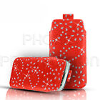 DIAMOND BLING LEATHER PULL TAB SKIN CASE COVER POUCH FOR VARIOUS SAMSUNG PHONES