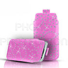 DIAMOND BLING LEATHER PULL TAB SKIN CASE COVER POUCH FOR VARIOUS LG PHONES