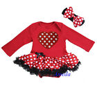 Valentine's Day Baby Minnie Mouse Red Polka Dots Heart Bodysuit Party Dress Tutu