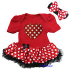 Valentine's Day Baby Minnie Mouse Red Polka Dots Heart Bodysuit Tutu Romper