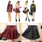 Girls Vogue Black Faux Leather Mini Skirt High Waist Pleated Skater Flared