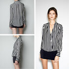 Lady's Summer Chiffon Long Sleeve White Vertical Stripe Lapel Shirt Tops Blouse