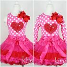 Valentine's Day Hot Pink Red Pettiskirt Heart Polka Dots Shirt Party Dress 1-7Y