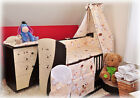 11 part set Cot with drawer dark brown/cream + mattress + 9 part bedding