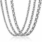 5/6/7mm MENS Chain Boys Silver Box Byzantine Stainless Steel Necklace 18-36inch