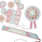 Classy Hen Night/Party ROSETTE, SASH & BADGES - Shabby Chic/Floral Vintage Style