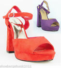 Womens Purple Red Odeon Faux Suede Platform High Heel Party Sandals Shoes UK3- 8